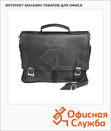 фото: Портфель 360х310х90мм черный, натуральная кожа