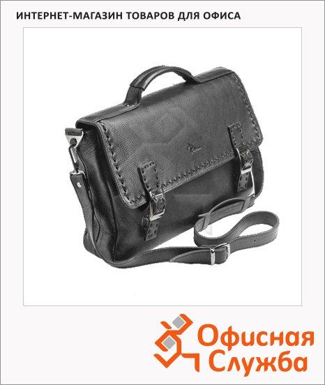 фото: Портфель 340х235х70мм черный, натуральная кожа