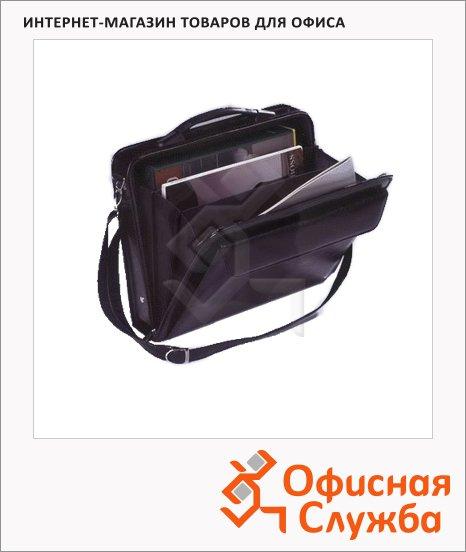 Портфель Алекс Саммит 360х270х80мм, черный, кожзам