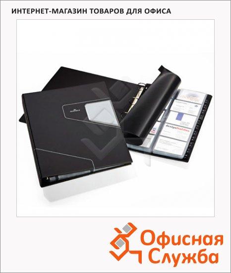 Визитница Durable Visifix Pro на 400 визиток, черная, ПВХ, 2462-58