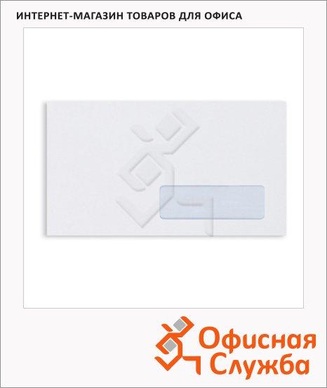 Конверт почтовый Ecopost Е65 белый, 110х220мм, 80г/м2, 1000шт, стрип, нижнее прав. окно