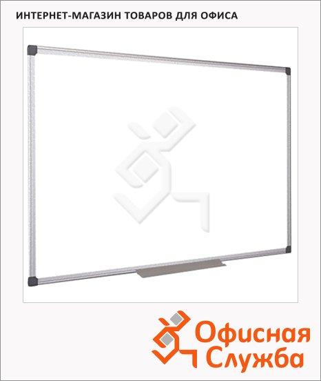 фото: Доска магнитная маркерная белая, лаковая, алюминиевая рама, полочка
