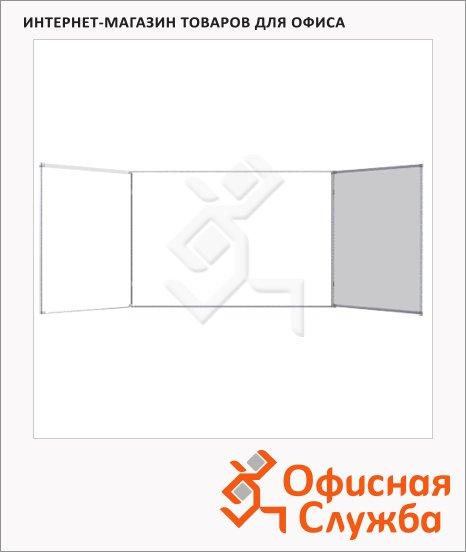 фото: Доска магнитная маркерная Attache 100х300см белая, лаковая, алюминиевая рама, полочка