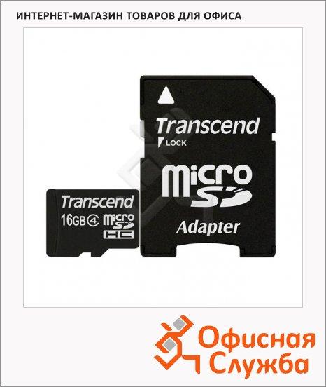 фото: Карта памяти Transcend micro SDHC 4мб/с, 16Gb, с адаптером SD
