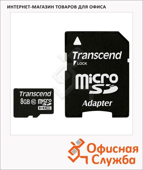 Карта памяти Transcend micro SDHC, 20мб/с, с адаптером SD, 8Gb