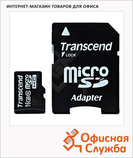 фото: Карта памяти Transcend micro SDHC 20мб/с, с адаптером SD, 16Gb