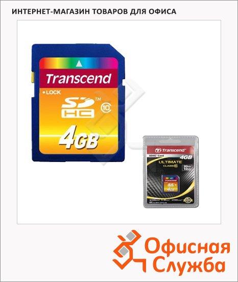 Карта памяти Transcend SDHC, 4Gb, 14/20 мб/с