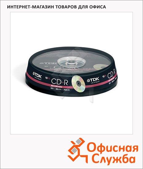 Диск CD-R Tdk 700Mb, 52x, Cake Box, 10шт/уп