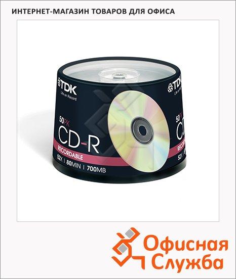 Диск CD-R Tdk 700Mb, 52x, Cake Box, 50шт/уп