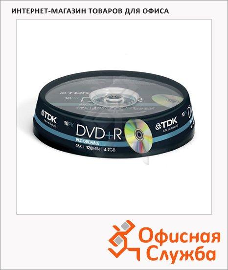 Диск DVD+R Tdk 4.7Gb, 16x, Cake Box, 10шт/уп