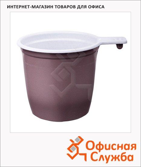 Чашка одноразовая бело-коричневая, 200мл