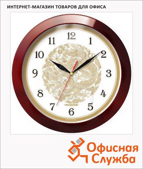 Часы настенные Troyka коричневые, d=29см, круглые, 11131190