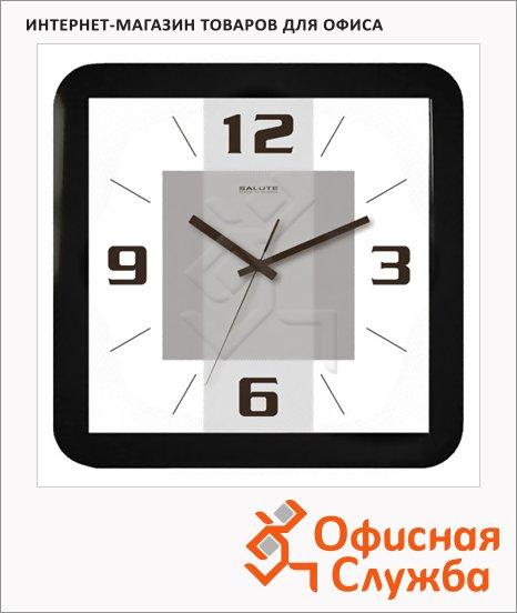 Часы настенные Салют Квадратура черные, 30х30 см, квадратные, П-А6-138