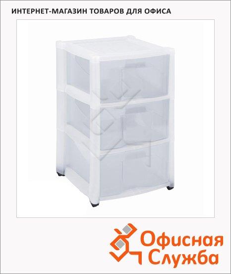фото: Ящик для хранения 37х31х16 см 3 выдвижные секции, белый