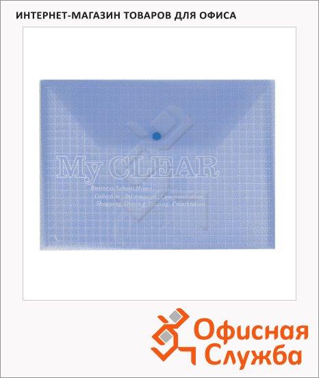 фото: Папка-конверт на кнопке синяя А4