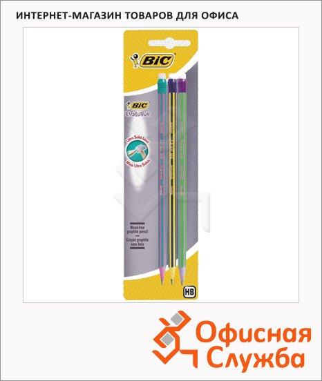Набор чернографитных карандашей Bic Evolution Stripes HB, с ластиком, 3шт