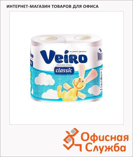 Туалетная бумага Veiro без аромата, 2 слоя, 4 рулона, 140 листов, 17.5м, белая
