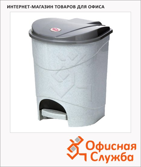 Контейнер для мусора с педалью М-Пластика 11л, серый, 272208