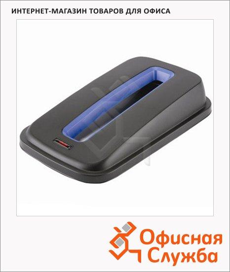фото: Крышка для контейнера Vileda Pro Гея 55/70л с отверстием для бумаги, черный/синий, 137731