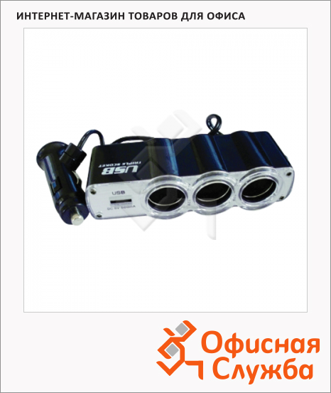 фото: Разветвитель в гнездо прикуривателя Supra SCP 1-4U на 3 гнезда 12В/24В, USB