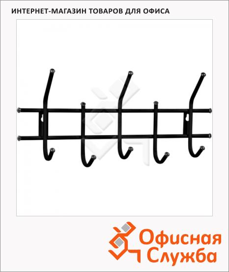 фото: Вешалка настенная Sheffilton Стандарт 5 крючков, 280х600х110мм, черная