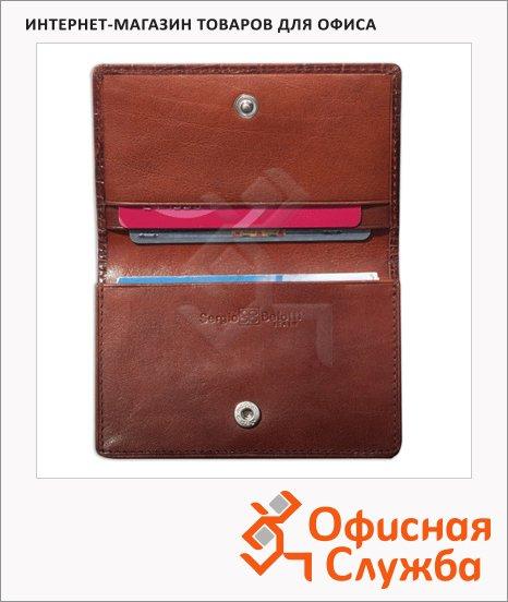 фото: Визитница на 60 визиток коричневая, 110х70мм, натуральная кожа