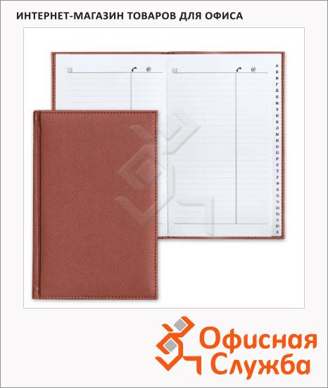 фото: Телефонная книга Brauberg Favorite А5 96 листов, кожзам, коричневая