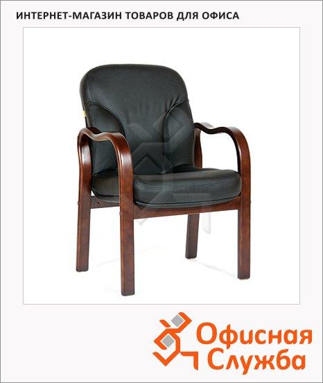Кресло посетителя Chairman 658 нат. кожа, черная, на ножках