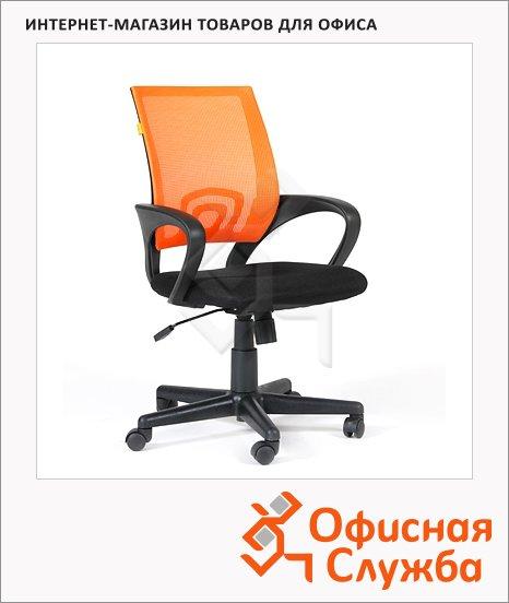Кресло офисное Chairman 696 ткань, черная TW, крестовина пластик, оранжевая DW, крестовина пластик