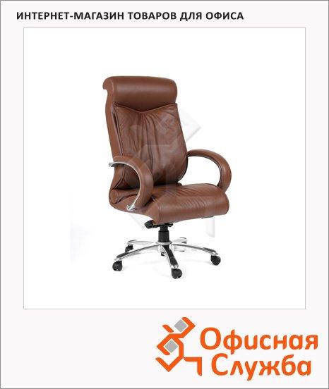 Кресло руководителя Chairman 420 нат. кожа, крестовина хром, коричневая