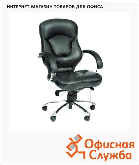 фото: Кресло руководителя Chairman 430 нат. кожа крестовина хром, черная