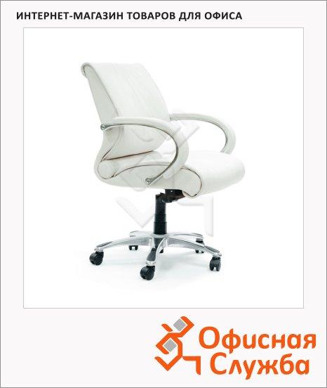 Кресло руководителя Chairman 444 нат. кожа, крестовина хром, белая
