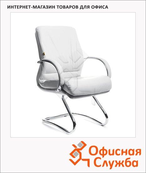 Кресло посетителя Chairman 445 нат. кожа, на полозьях, белая