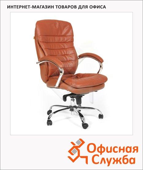 Кресло руководителя Chairman 795 нат. кожа, крестовина хром, коричневая