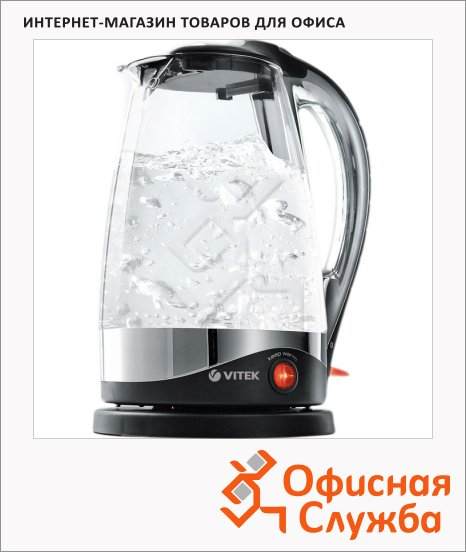 фото: Чайник электрический VT-1102 прозрачный 1.7 л, 2200 Вт