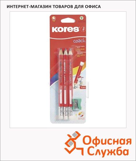 Набор чернографитных карандашей Kores Jumbo НВ, трехгранные, с ластиком, 3шт, точилка