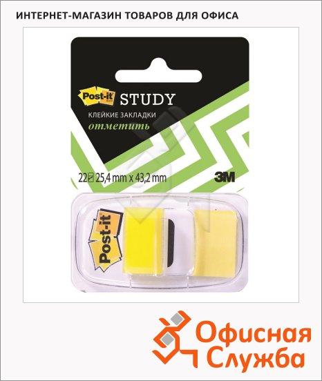 фото: Клейкие закладки пластиковые Post-It Study 25х38мм 22 листа, желтые, 680-Y-LEU