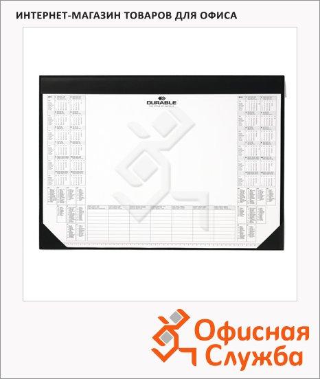 фото: Коврик настольный для письма Durable 42х59см с блокнотом-календарем, черный, 7291-01