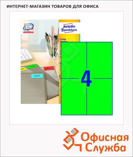 Этикетки Avery Zweckform 3458, 4шт на листе А4, 100 листов, 400шт, для всех видов печати, зеленые, 105х148мм