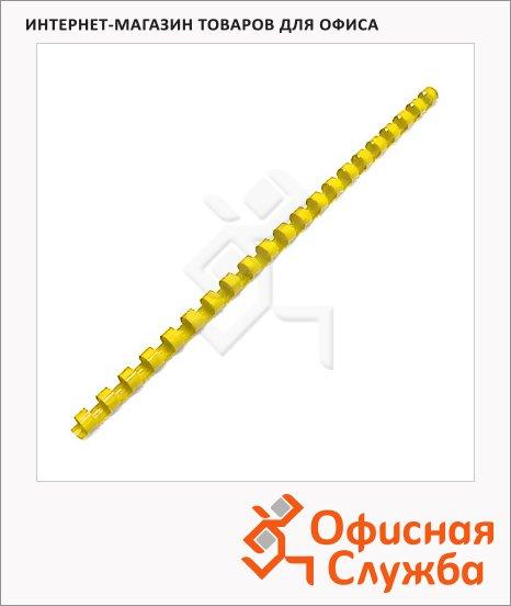 Пружины для переплета пластиковые Office Kit BP2155, на 1-30 листов, кольцо, 6мм, 100шт, желтые