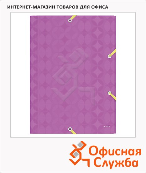 фото: Пластиковая папка на резинке Leitz Retro Chic фиолетовая A4, 38мм, 45190065