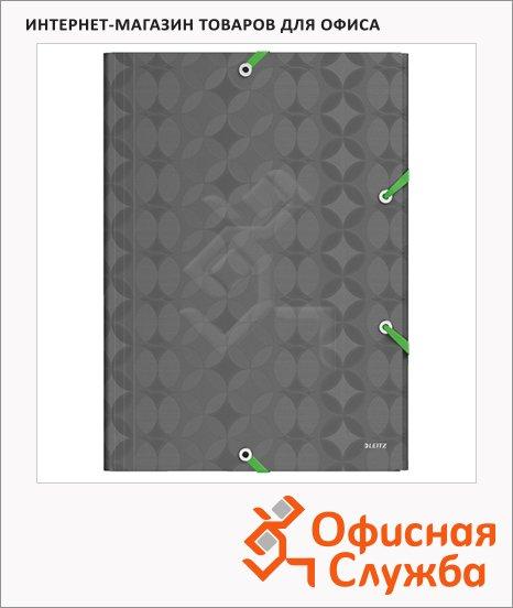 Пластиковая папка на резинке Leitz Retro Chic серая, A4, 38мм, 45190089