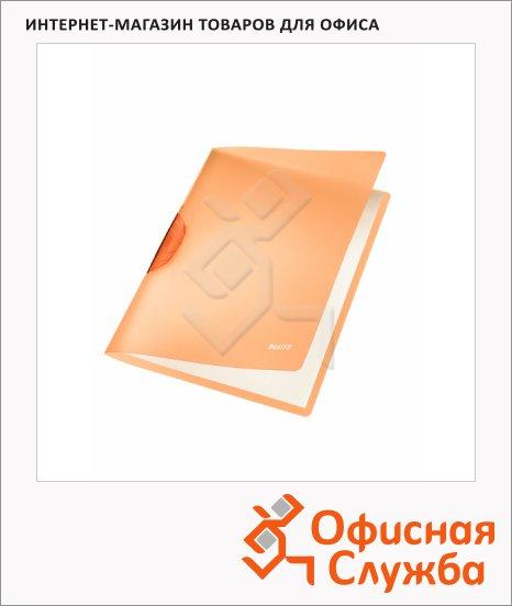 Пластиковая папка с клипом Leitz ColorClip Rainbow оранжевая, А4, до 30 листов, 41760045