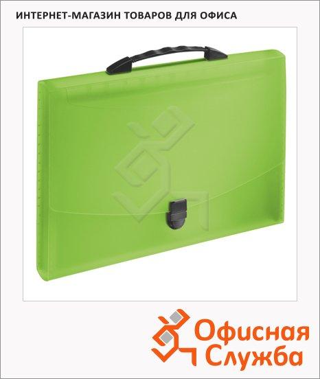 фото: Портфель пластиковый Esselte Vivida зеленый до 350 листов, 12 отделений, 624026
