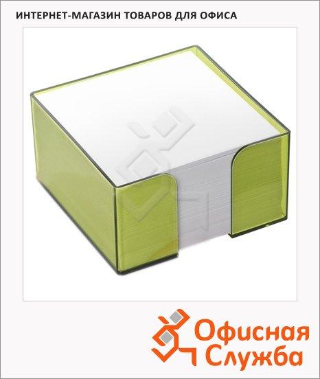 фото: Блок для записей непроклеенный в подставке Стамм в боксе цвета лайм 90х90мм