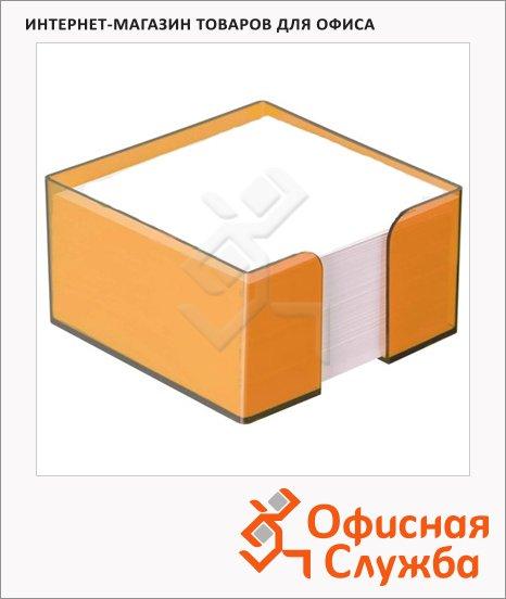 Блок для записей непроклеенный в подставке Стамм белый в боксе цвета манго, 90х90мм