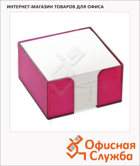 Блок для записей непроклеенный в подставке Стамм белый в боксе цвета сливы, 90х90мм
