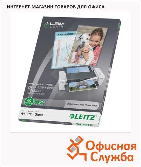 Пленка для ламинирования Leitz 80мкм, 100шт, 216х303 мм, глянцевая, с направляющими