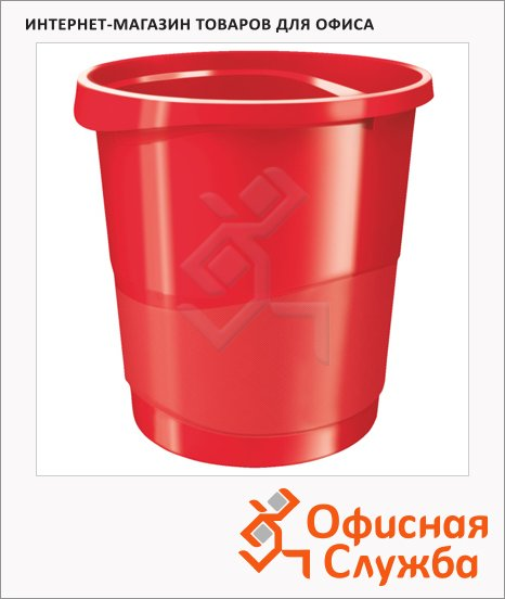 Корзина для бумаг Esselte Europost Vivida 14л, с держателем, красная, 623947