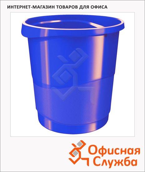 фото: Корзина для бумаг Esselte Europost Vivida 14л с держателем, синяя, 623948